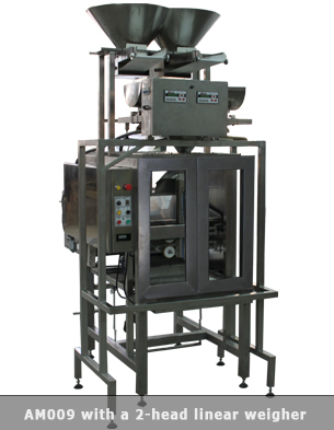 Vertical form fill seal machine with double head weigher