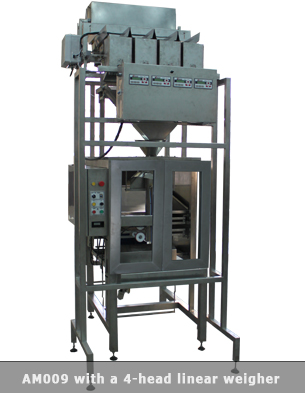 Vertical form fill seal machine with four head weigher