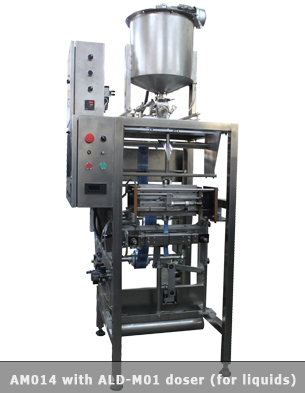 Vertical multilane form fill seal machine with a single head piston filler for liquids