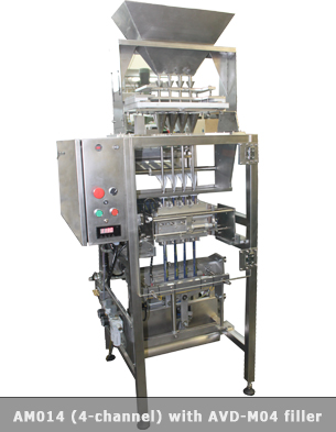 Vertical multilane form fill seal machine with a 4 head volumetric filler