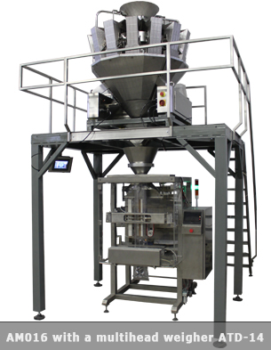 Vertical form fill seal machine with a multihead weigher