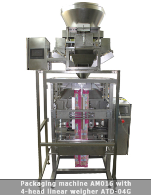 Vertical form fill seal machine with four head linear weigher
