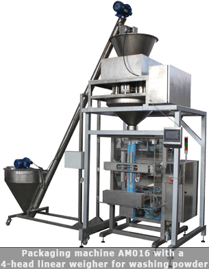 Vertical form fill seal machine with four head weigher used for washing powder