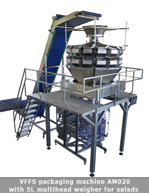 Automatic packaging line for fresh salads