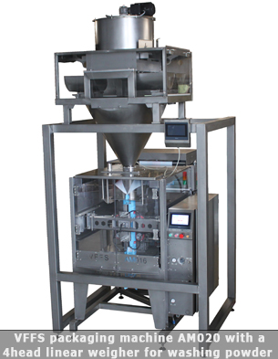 Automatic packaging line for washing powder